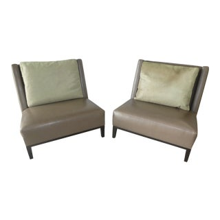 Holly Hunt Christian Liaigre Leather Latin Lounge Chairs- a Pair For Sale