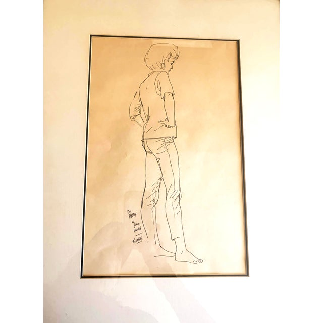 1970s Framed Female Ink Drawing Studies by Ralph E. White - Set of 3 For Sale - Image 9 of 13