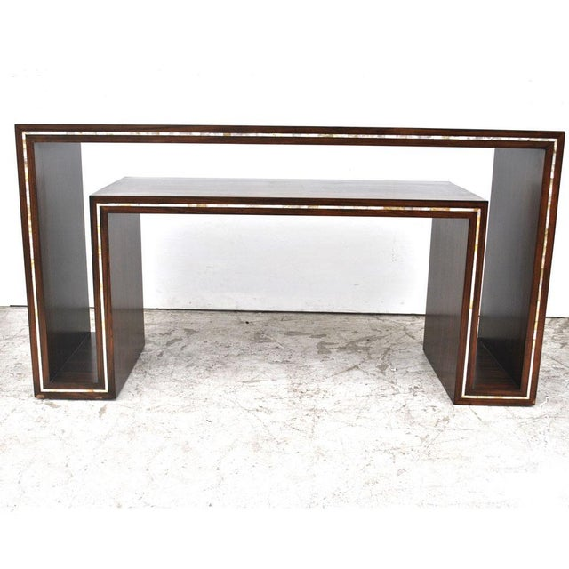 Modern Modern Rosewood With Mother of Pearl Entry Sofa Table For Sale - Image 3 of 7