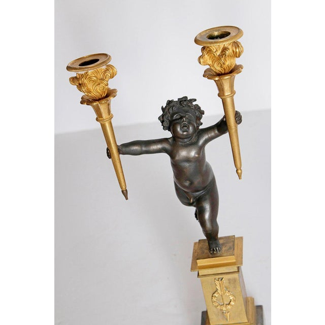 Gold Pair of French Charles X Patinated Bronze and Gilt Figurative Candelabras For Sale - Image 8 of 13