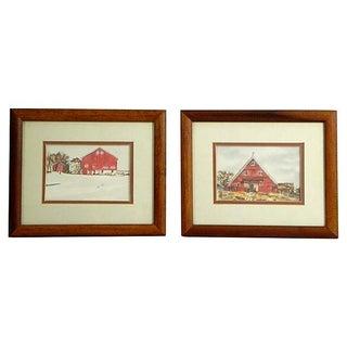 Watercolor Barn Scenes - Pair For Sale