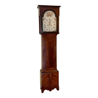 Antique 18 C. Biedermeier Flame Mahogany Grandfather Clock For Sale