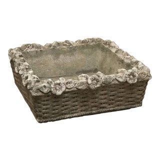English Garden Stone Square Low Planter For Sale