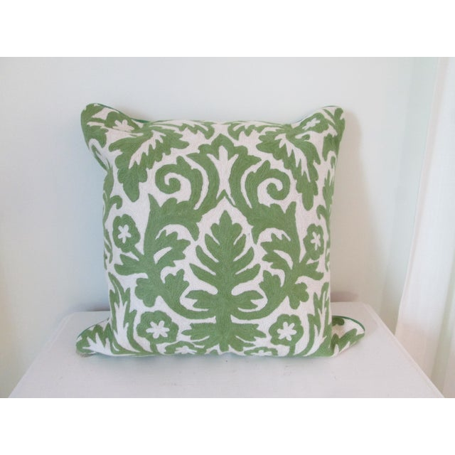 Green Crewel Embroidered Pillow - Image 2 of 5