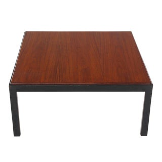 Ebonised Frame Walnut Top Square Coffee Occasional Table For Sale
