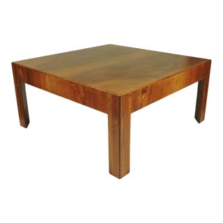 Italian Mid-Century Modern Olivewood Square Cocktail Table For Sale