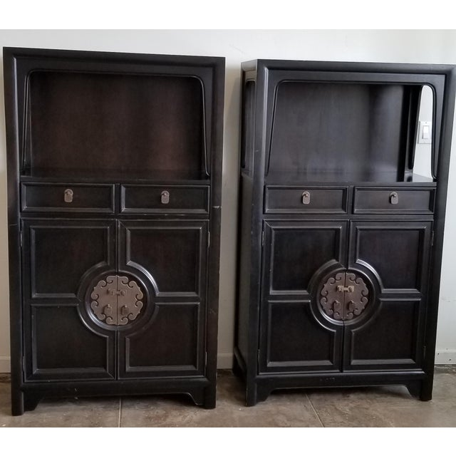 Vintage Century Furniture Black Dry Bar Cabinets With Brass Hardware - a Pair For Sale - Image 9 of 9