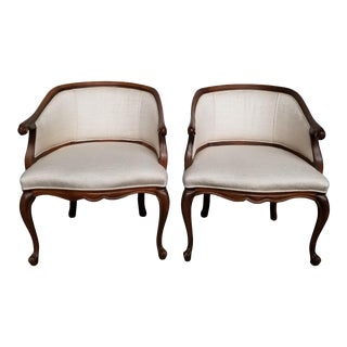 Vintage French Carved Walnut Barrel Back Chairs- A Pair For Sale