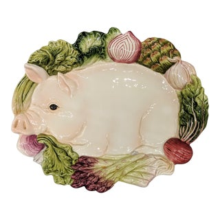 Fitz and Floyd Trompe l'Oeil French Market Pig and Vegetable Platter For Sale