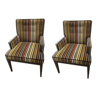 Striped Transitional Dining Chairs - A Pair
