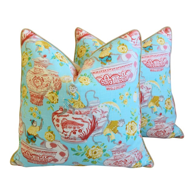 """Aqua Chinoiserie Playful Monkeys & Chinese Vases Feather/Down Pillows 26"""" Square - Pair For Sale"""