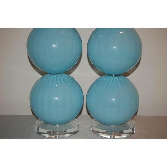 Glass Joe Cariati Glass Ball Table Lamps Blue For Sale - Image 7 of 10