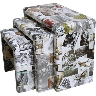 Photo Collage Wide Profile Nesting Tables - S/3 For Sale