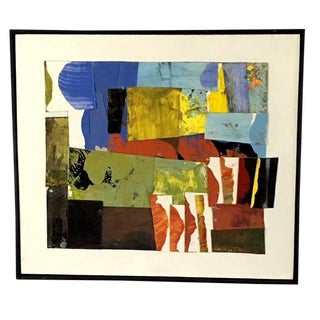 """""""Brown Hills and Blue"""" Abstract Landscape Collage by Michael Ferguson For Sale"""