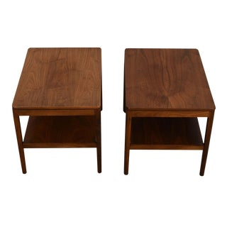 Pair of Mid Century Modern End Tables / Nightstands in Walnut