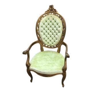 Louis XV French Lime Velvet Bergere Last Mark Down For Sale