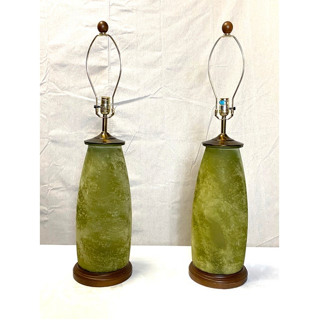 Green Stunning Frosted Green Glass Vintage Table Lamps - a Pair For Sale - Image 8 of 8