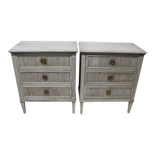 20th Century Swedish Gustavian Reeded Nightstands - a Pair