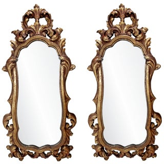 Rococo Hollywood Regency Style Gold Gilt Leaf Hanging Wall Mirrors - a Pair For Sale