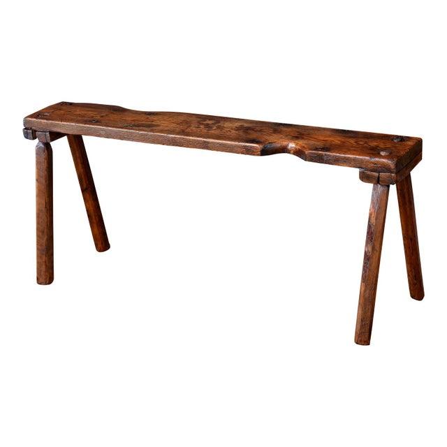 Wood Primitive English Oak Bench For Sale - Image 7 of 10