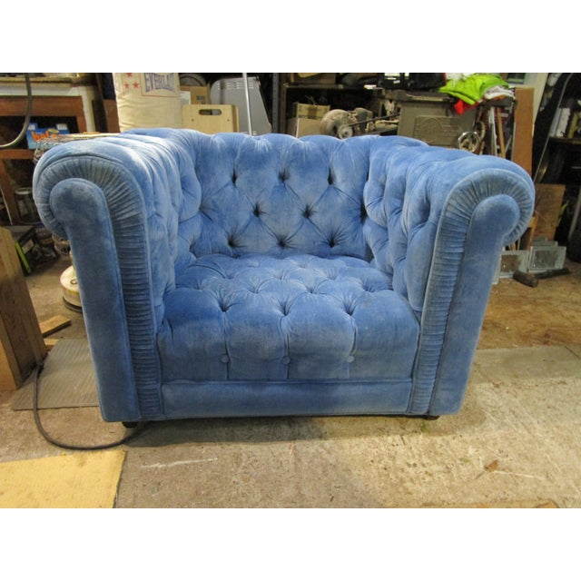 Mid 20th Century Vintage Mid Century Tufted Tuxedo Sky Blue Chesterfield Chair For Sale - Image 5 of 7