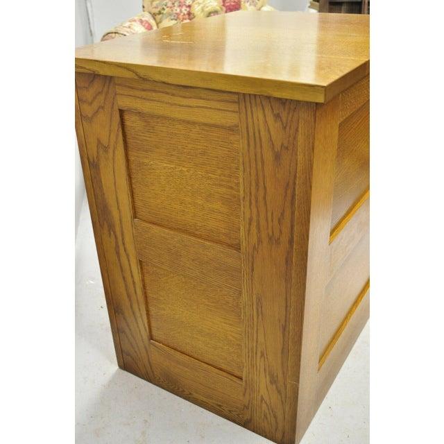Wood L&j G Stickley Arts & Crafts Mission Oak Wood Two Drawer Office File Cabinet For Sale - Image 7 of 13