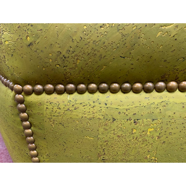 Traditional Custom Made Green and Gold Octagonal Ottoman For Sale - Image 3 of 5