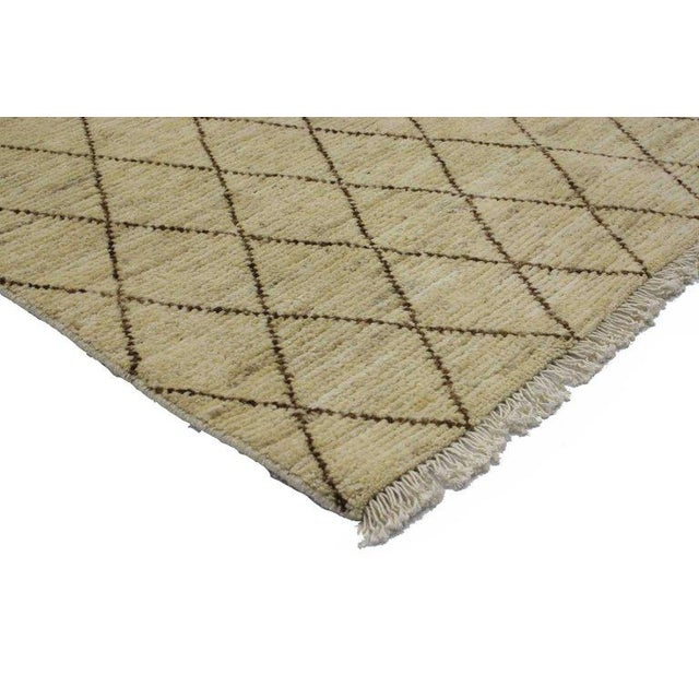 Abstract Modern Moroccan Style Accent Rug in Warm Colors For Sale - Image 3 of 4