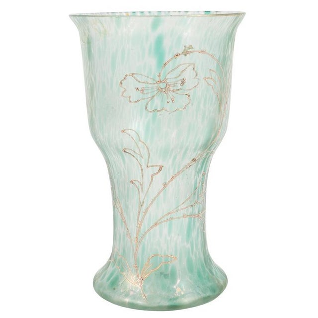 Art Nouveau Austrian Art Glass Vase in Green Iridescent and Gold Relief Vine For Sale - Image 10 of 10
