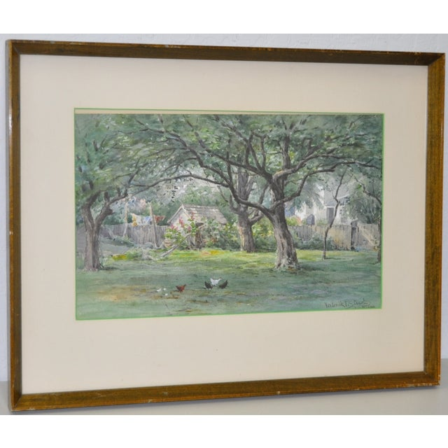 Absolutely beautiful original watercolor by listed Massachusetts artist Frederick Stuart (1837–1913). A lovely country...