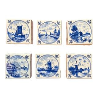 Delft Reproduction Blue Ceramic Tiles - 33 Pieces For Sale