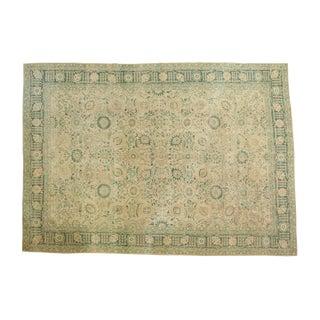 """Vintage Distressed Tabriz Carpet - 8'10"""" X 12'4"""" For Sale"""