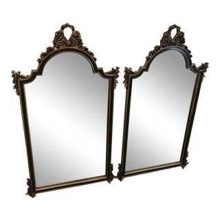 Large Ornate Gold Gilt Bow Mirrors - A Pair