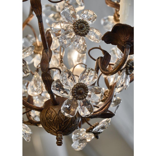 Gold Vintage Baguès Crystal Chandelier For Sale - Image 8 of 10
