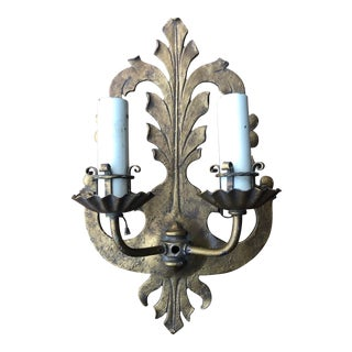 Gothic Style Hand Wrought Electric Wall Light Sconce For Sale