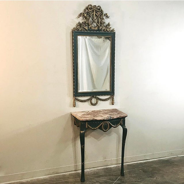 19th Century Italian Carved Wood Painted Marble Top Console With Mirror For Sale - Image 13 of 13