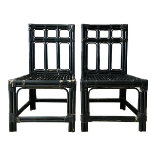 Vintage Bamboo High Back Chairs, a pair