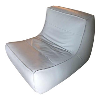 Modern Dellarobbia White Leather Lounge Chair For Sale