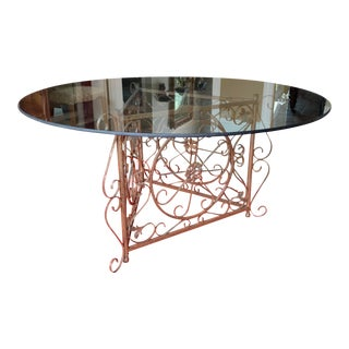 French Glass Top Ornamental Iron Center Table For Sale