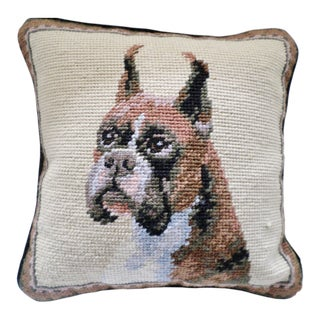 "Traditional Needlepoint Hand Stitched Pillow of Boxer Dog by Elegant Decor - 10"" X 10"" For Sale"
