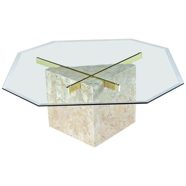 Mid-Century Modern Maitland-Smith Style Brass & Glass Tessellated Stone Pedestal Coffee Table For Sale - Image 3 of 10