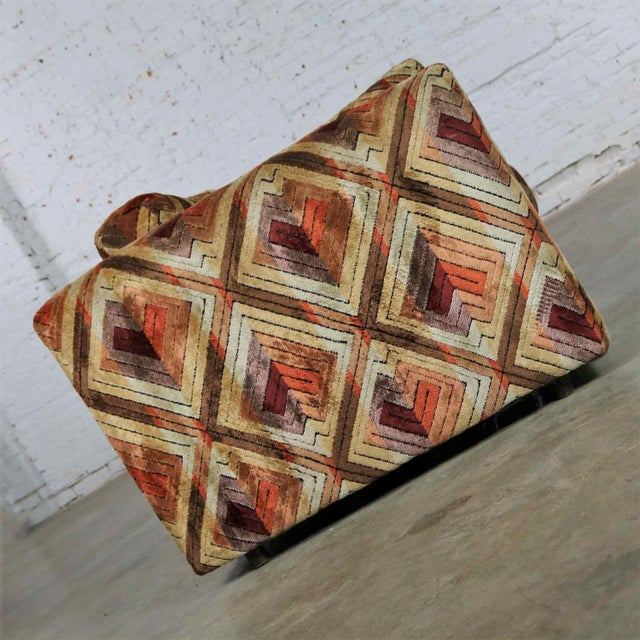 Brown Tuxedo Mod Loveseat Sofa in Jack Lenor Larsen Style Fabric For Sale - Image 8 of 13