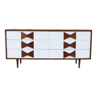 Walnut Kroehler Mid Century Dresser w/ Bow Tie Handles For Sale