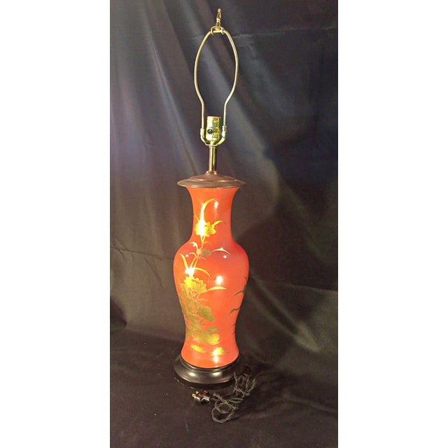 1960's Vintage Asian Influenced Fire Red Orange Table Lamps- A Pair For Sale - Image 4 of 12