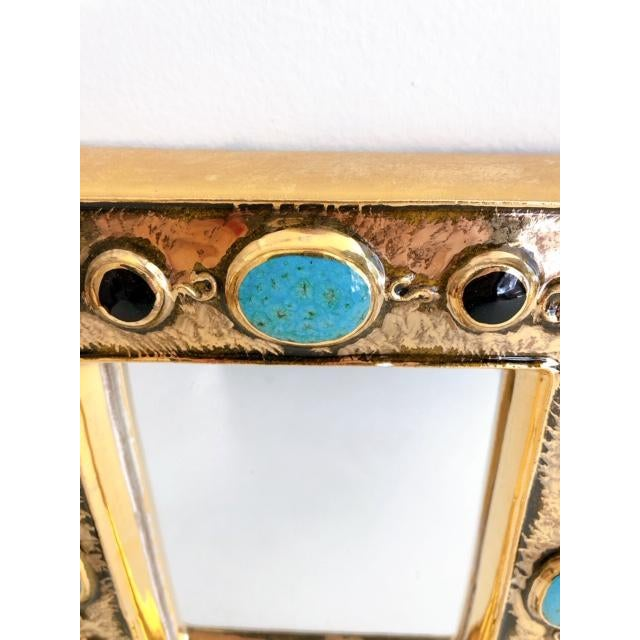 Gold Françoise Lembo Gold & Jeweled Mirror For Sale - Image 8 of 9