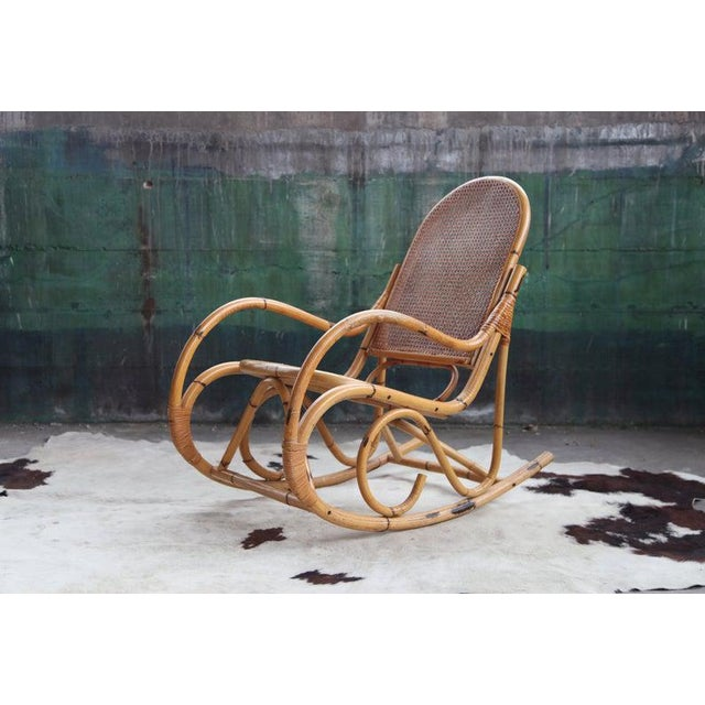 Mid-Century Hollywod Regency Boho Style Chic Rocking Chair For Sale - Image 11 of 11