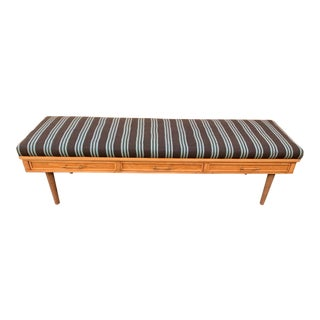 Mid-Century Modern Upholstered Bench With Drawers For Sale