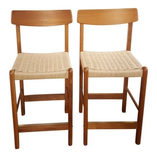 Vintage Teak Bar Stools With Paper Cord Seat - A Pair For Sale