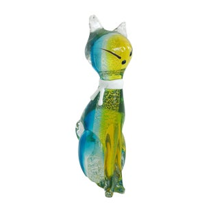 Italian Vintage Glass Cat For Sale