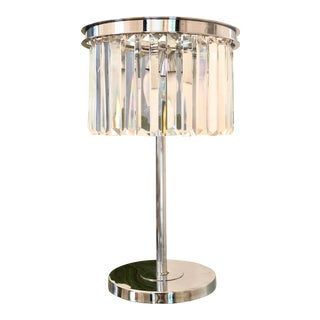 Hollywood Regency Chrome and Glass Prism Chandelier Table Lamp For Sale